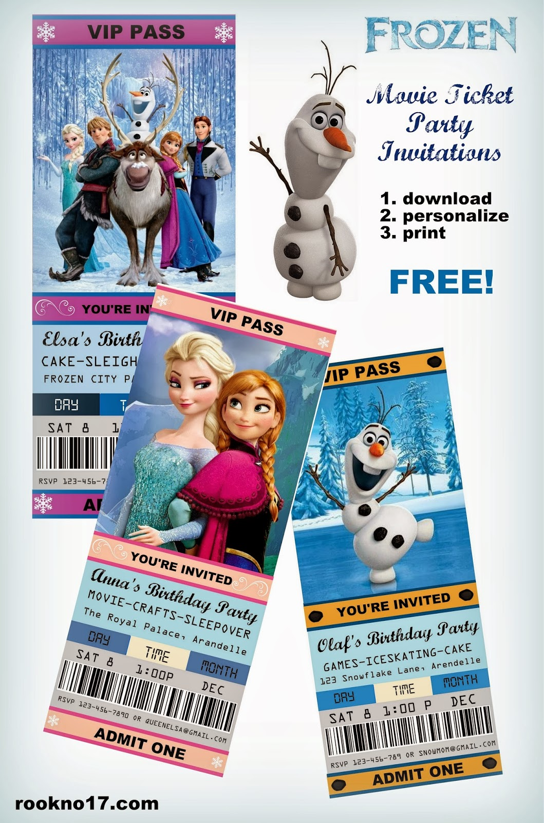 Movie Ticket Style FROZEN Party Invitations (Free Download) And 20+ Ideas  For The Ultimate Frozen Party!  Free Printable Ticket Style Invitations