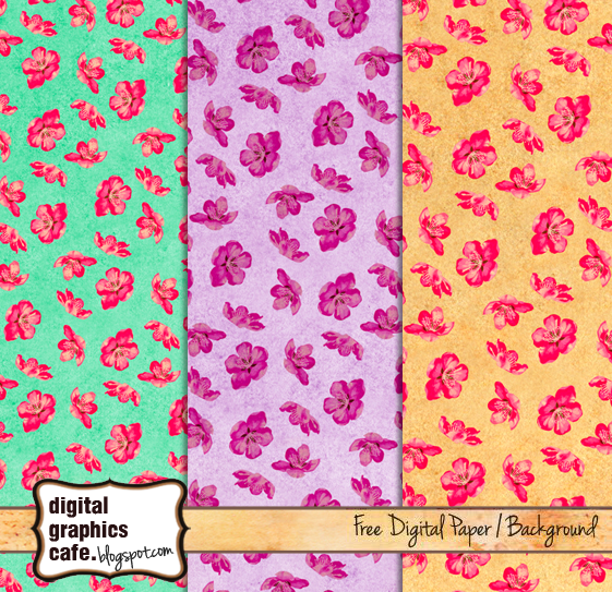 Free flowers scrapbook paper from Digital Graphics Cafe