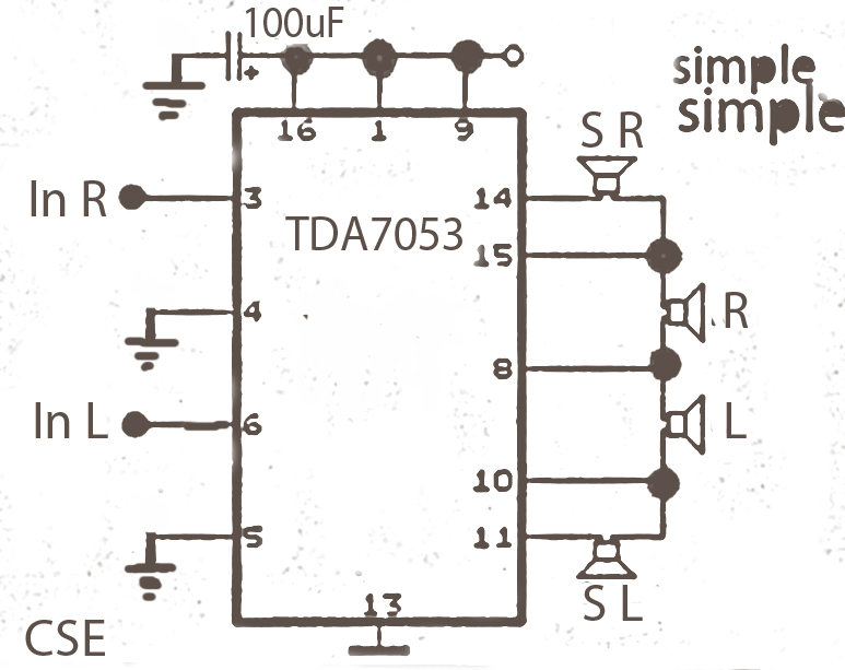 World Technical  Surround Circuit Tda7053 Amplifier