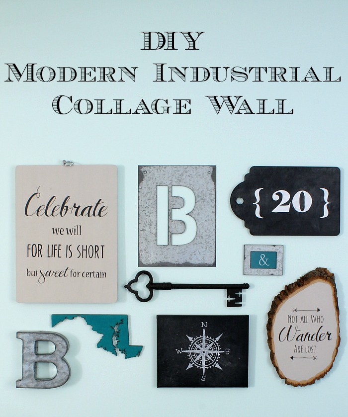 Modern Industrial Collage Wall with DIY Art
