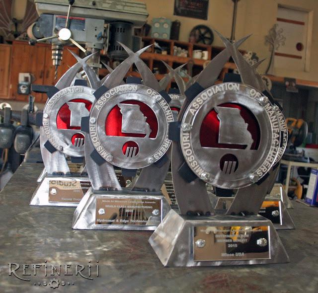 custom created steel trophy awards