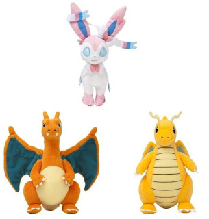 PokeCenJP Plush Charizard Dragonite Sylveon