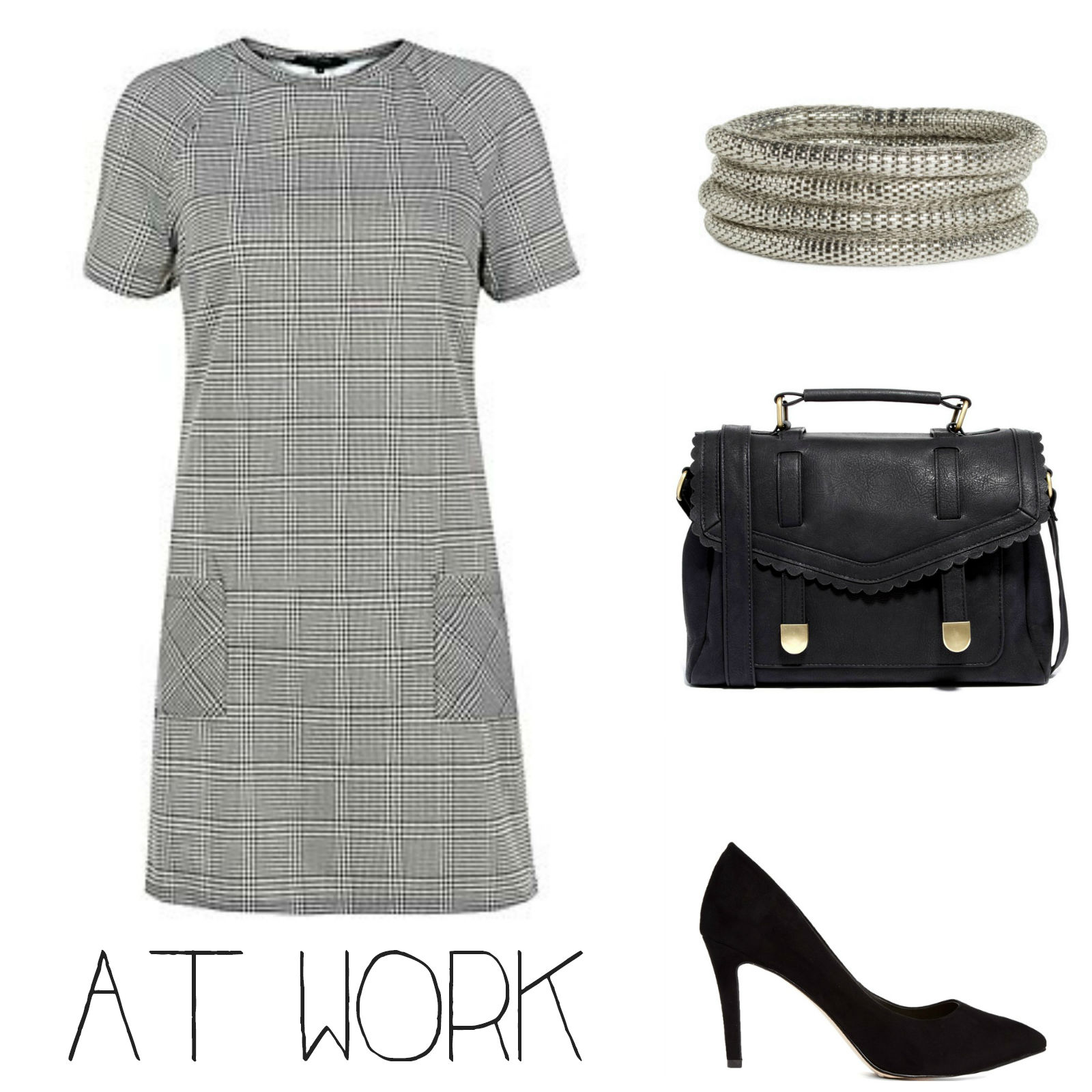 Work outfit with grey shift dress
