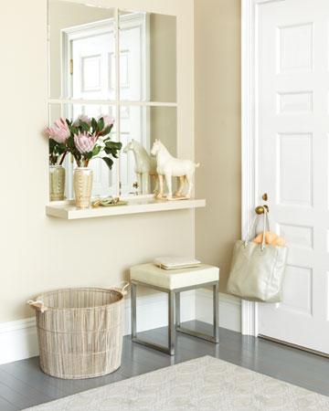 decoração de hall com espelho, banco e objetos hall de entrada , hall de entrada de casas ou apartamentos