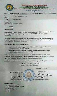 surat edaran kristen GIDI sebelum amuk massa teroris saat idul Fitri di tolikara papua