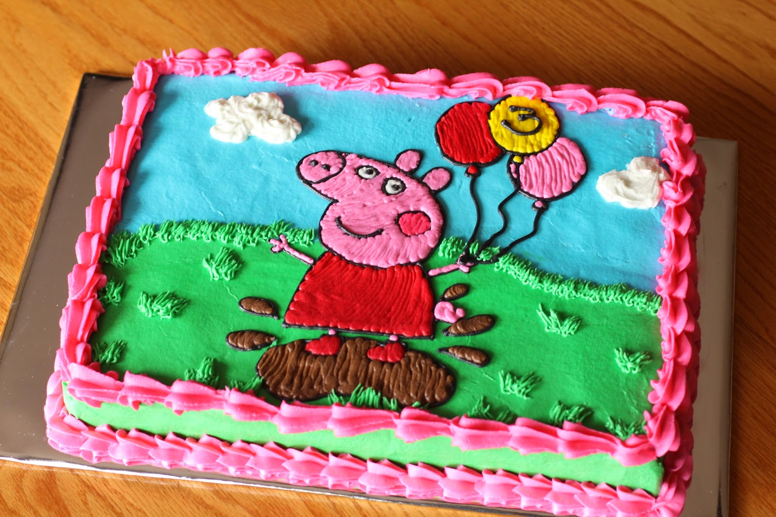 The Ganos Happy 3rd Bithday Peppa Pig Sheet Cake