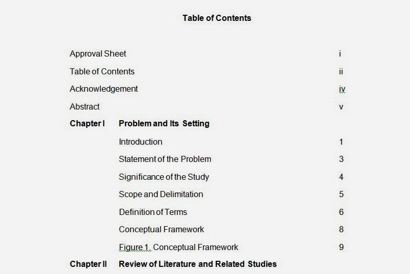 format of table of contents for research paper