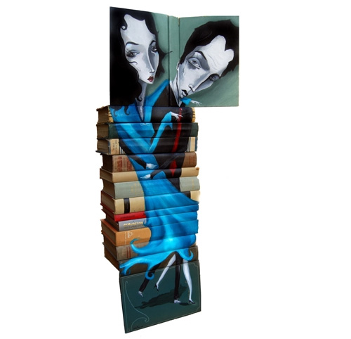 Mike Stilkey - Beautiful Artwork on Spines of Stacked Books Part II...