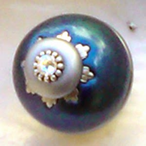 Nu lily knob 1.5 in. diameter in turquoise teal with crystal