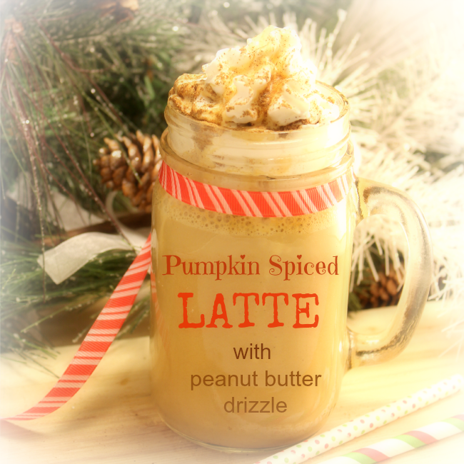 Latte with pumpkin, peanut butter, and cream