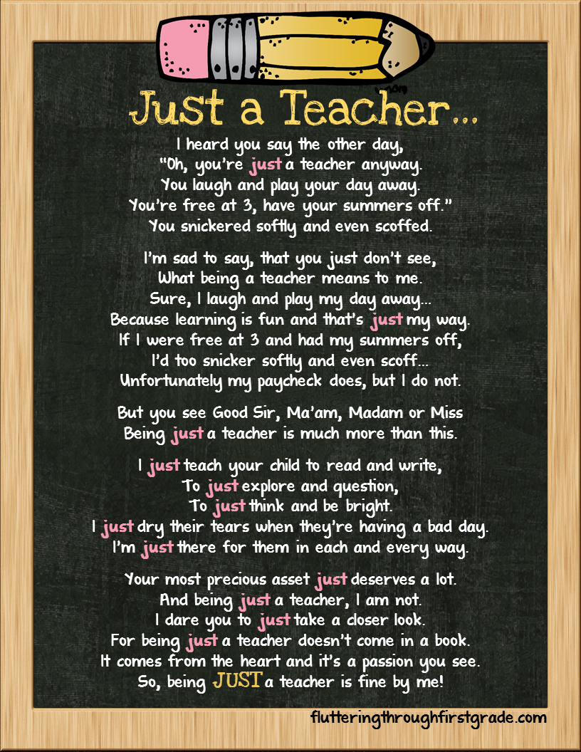 Fluttering Through First Grade: Just a Teacher...