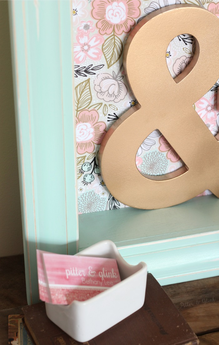 Mint paint and floral gift wrap make a plain shadowbox pastel perfection! pitterandglink.com