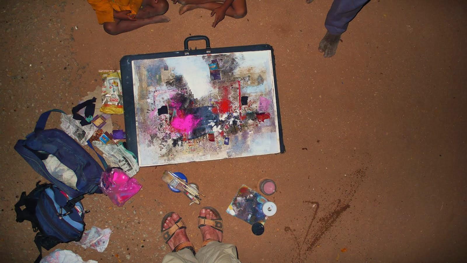 Pintando al anochecer en Hampi, India.
