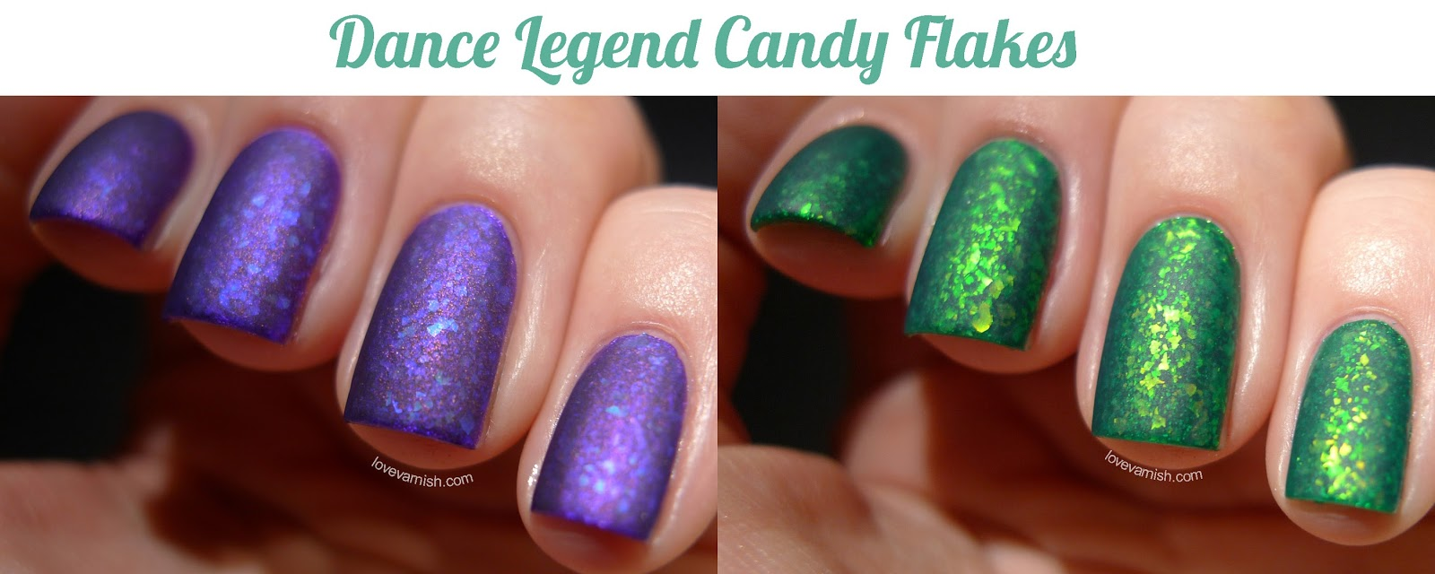 Dance Legend Candy Flakes flakie polishes layered matte
