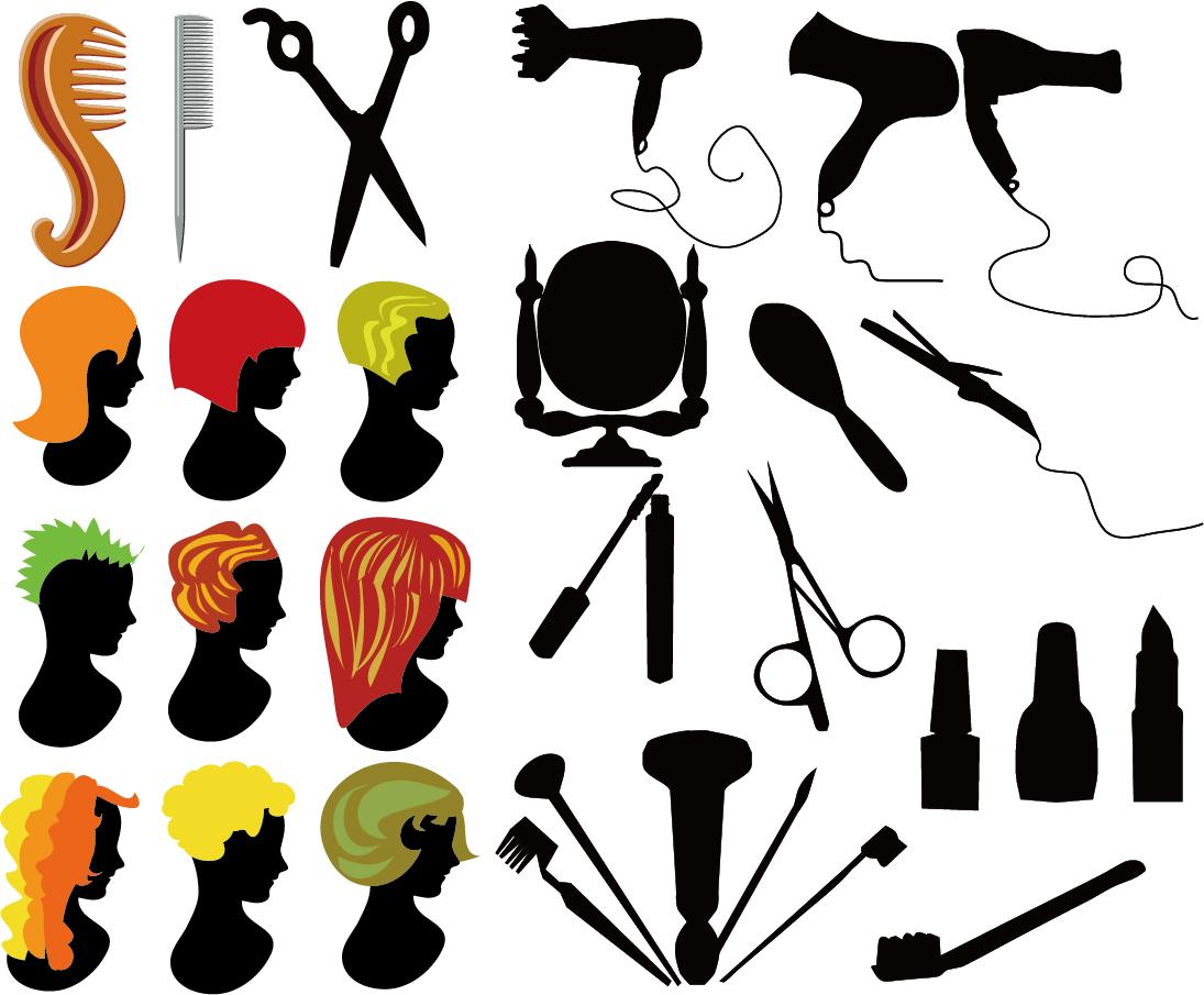 美容室関連のシルエット Hairdressing series element イラスト素材