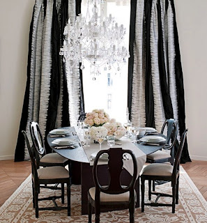 Silver and Black Curtains Drapery Interior Design
