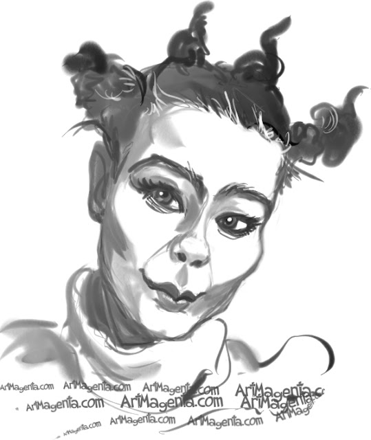 Bjork caricature cartoon. Portrait drawing by caricaturist Artmagenta.