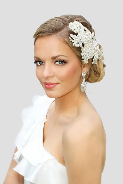 """Delilah Headpiece"" Bridal Lace Statement Headpiece with Crystals"