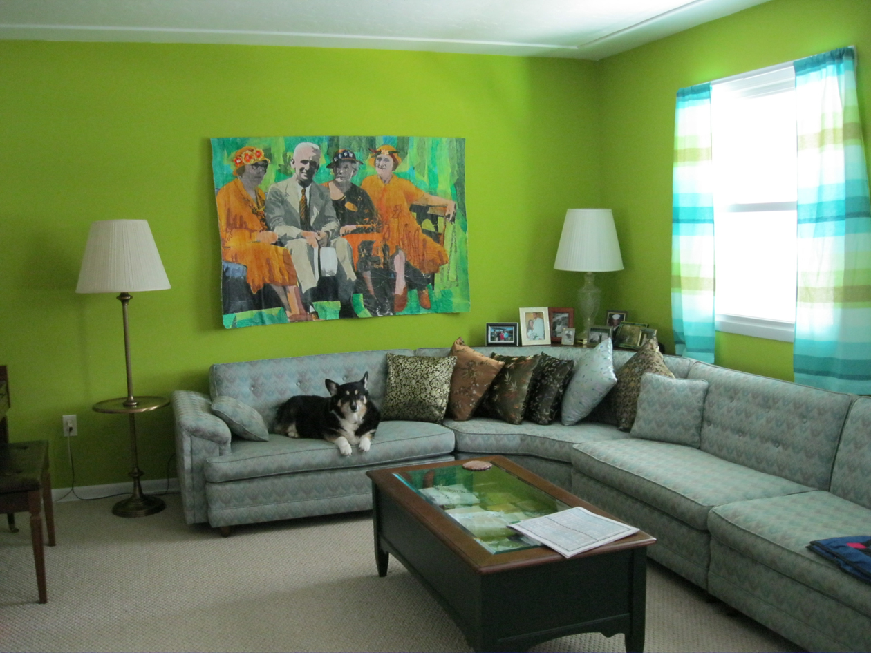 Mixed media and textile too the green room for Living room 4 pics 1 word