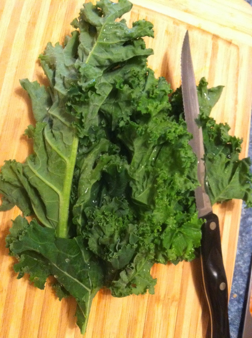 kale ready to be prepped for pesto.