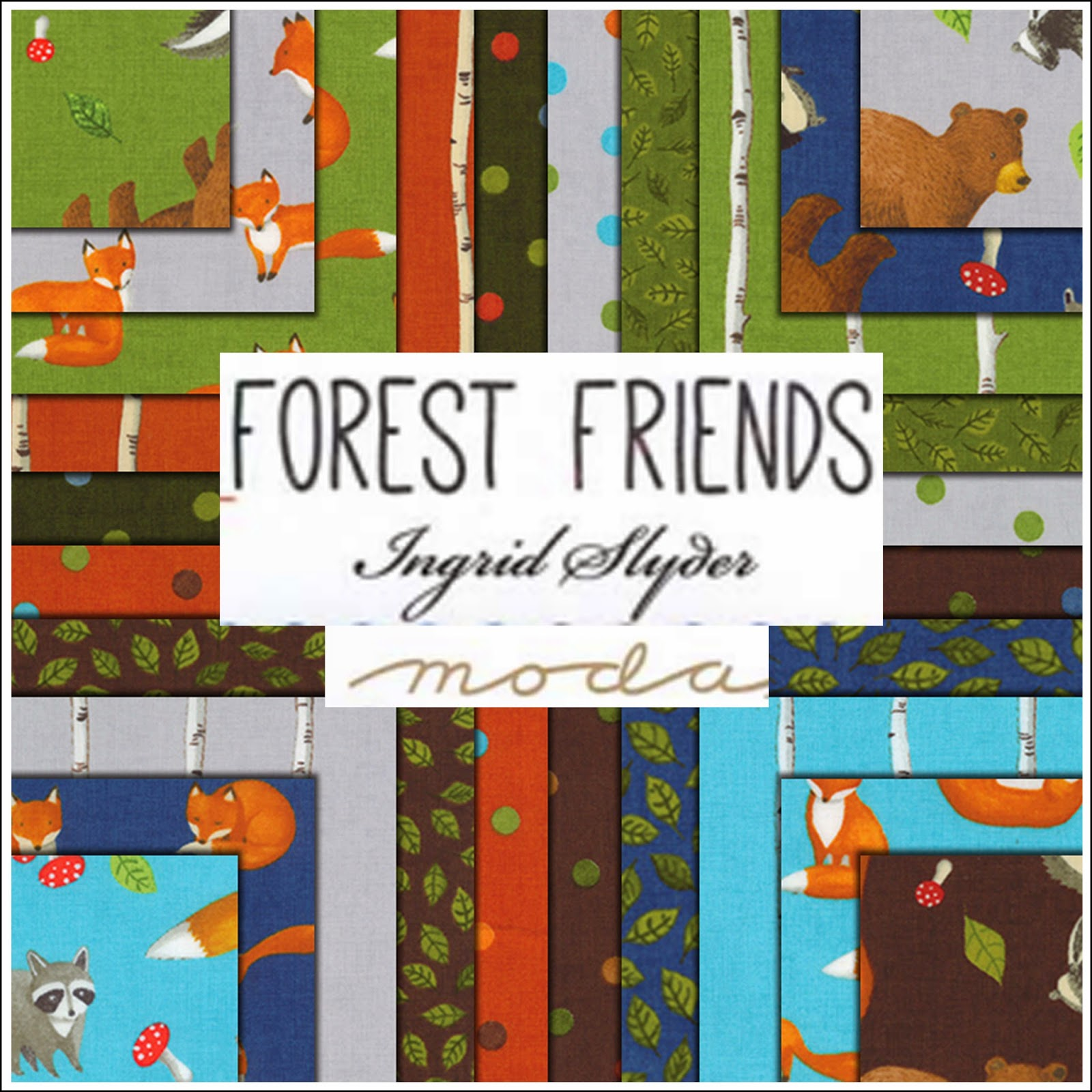 Moda FOREST FRIENDS Quilt Fabric by Ingrid Slyder for Moda Fabrics