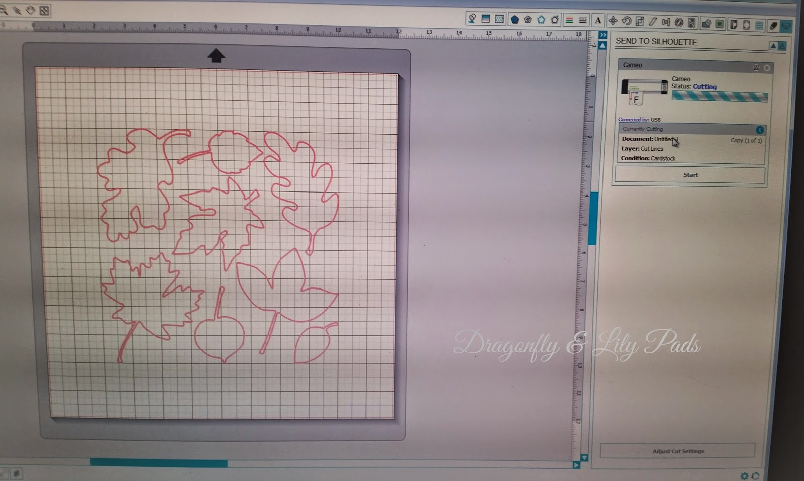 Silhouette screen, Leaves, Cut set up, Red, Blue, Dragonfly & Lily Pads