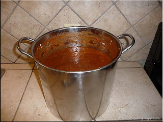 my largest stock pot with moose meat chili