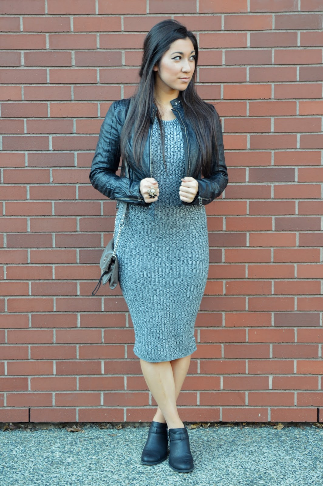 ootn long sweater dress, leather jacket, cut out ankle boots