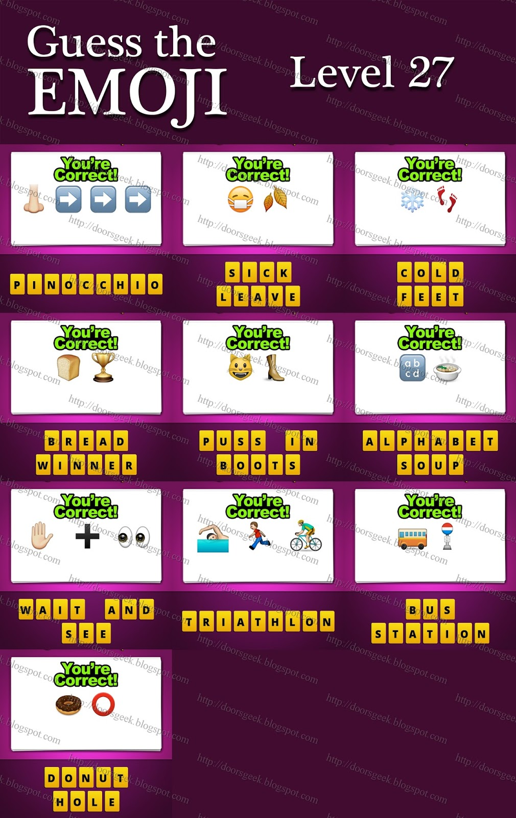 Guess The Emoji Level 27 Answers And Cheats Doors Geek