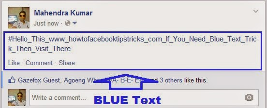How to Make Blue Text Updates and Comments on Facebook image photo