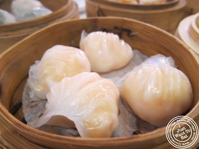 Image of Crystal shrimp dumplings and dim sums at the Golden Unicorn in Chinatown NYC, New York