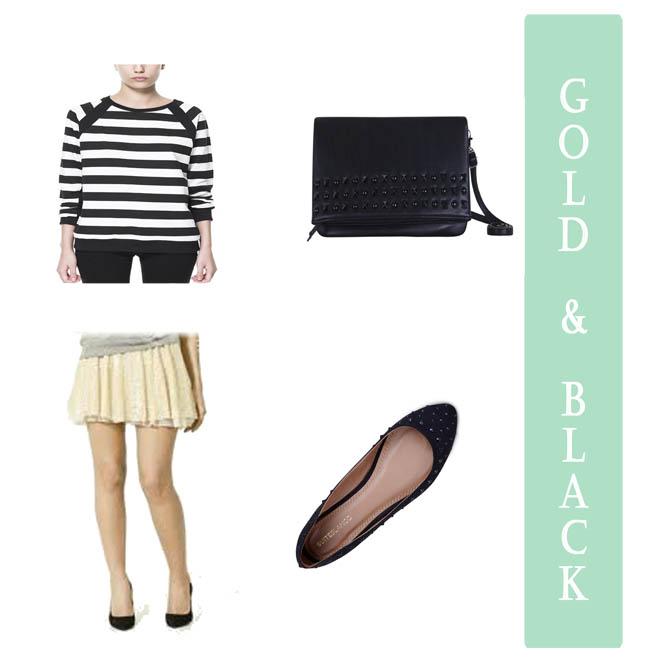 Cominar falda dorada Negro bolso bailarinas Zara Blanco