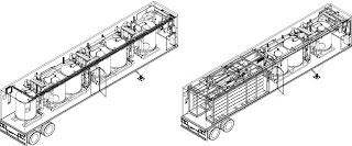 CAD drawings of a combination RO-Prefiltration trailer and a filtration trailer