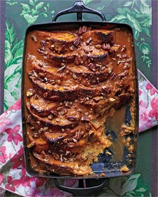 Pumpkin Bread Pudding With Carmel Sauce