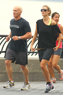 Celebrity Heidi Klum with her Fitness Trainer