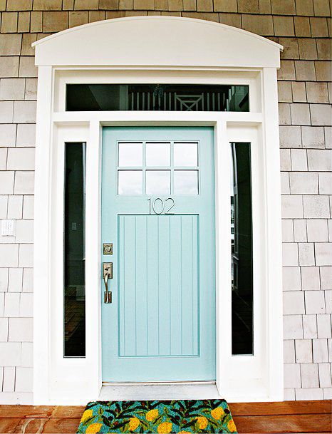 From House of Turquoise a gorgeous front door (originally posted on Hiya Papaya blog) painted in Benjamin Moore\u0027s Wythe Blue. & Coastal Shore Creations: Painted Front Doors - Beach House Style Pezcame.Com