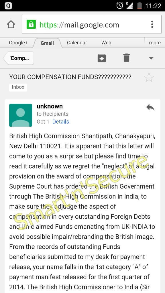 Fraud Compensation Email The British High Commission Bhcbh317 Yahoo Co Uk Digi Aware
