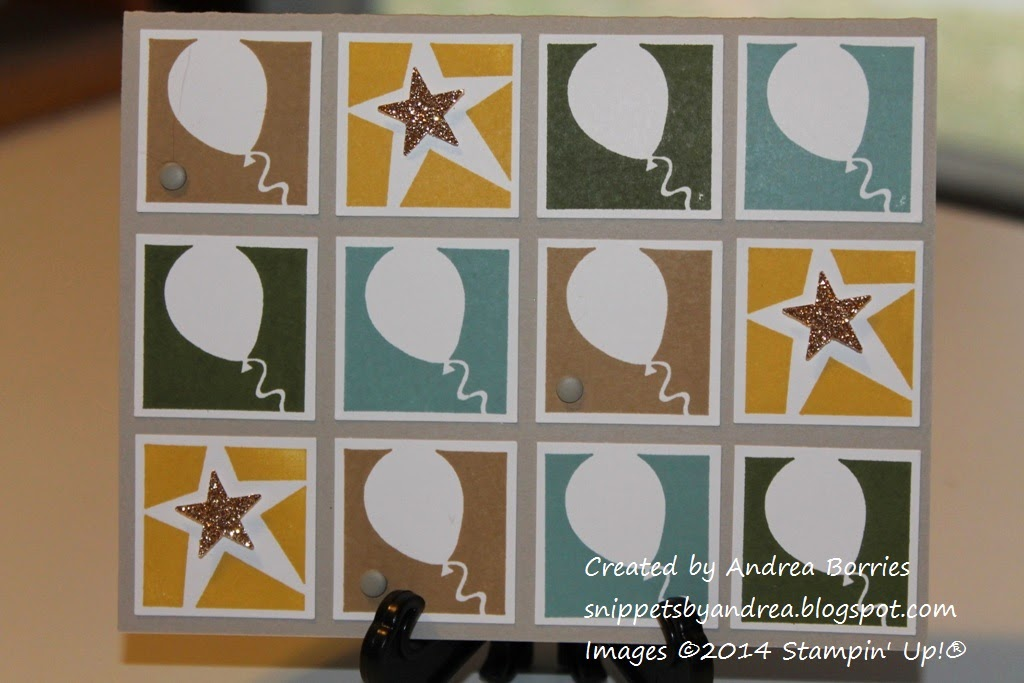 Masculine birthday card with a grid of twelve punched squares. In each square is stamped a balloon or star. In each star image is a punched glimmer paper star.