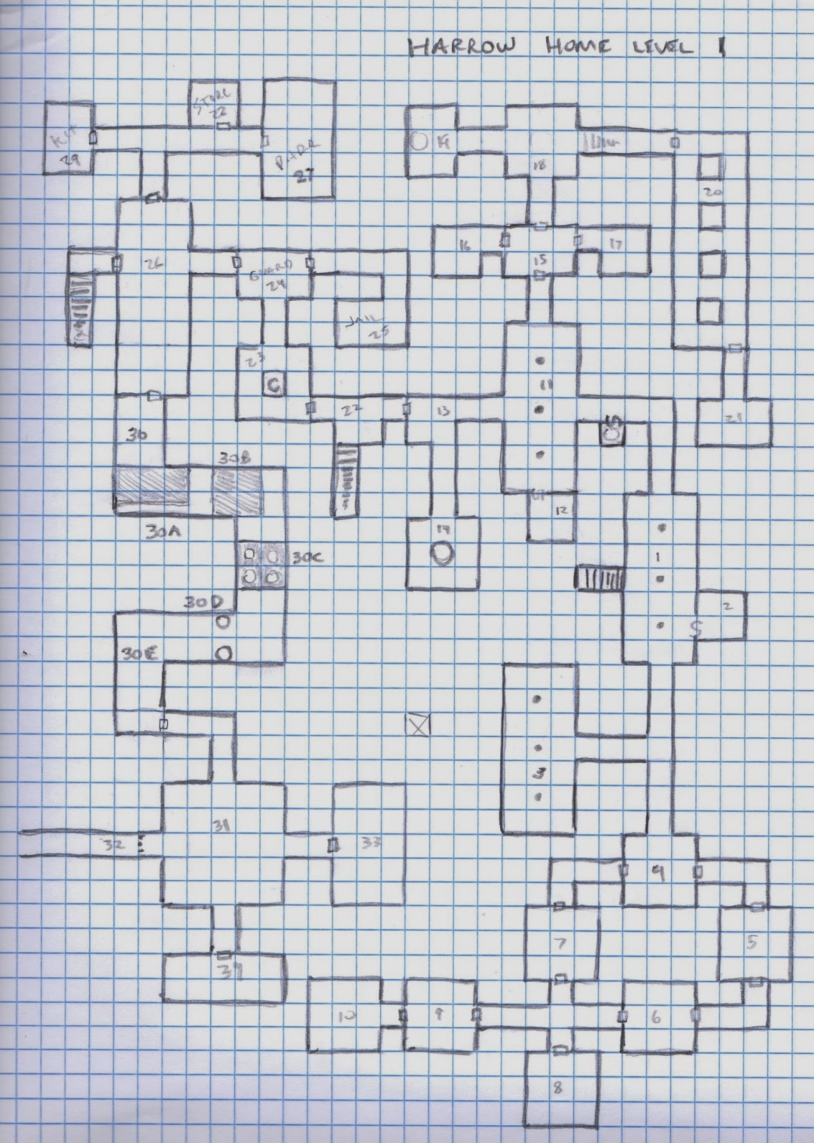 Dreams in the Lich House: Harrow Home - Dungeon Level 1 (Map)
