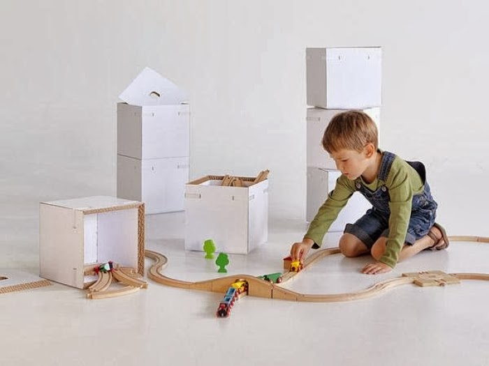 Recycled cardboard storage boxes for kids