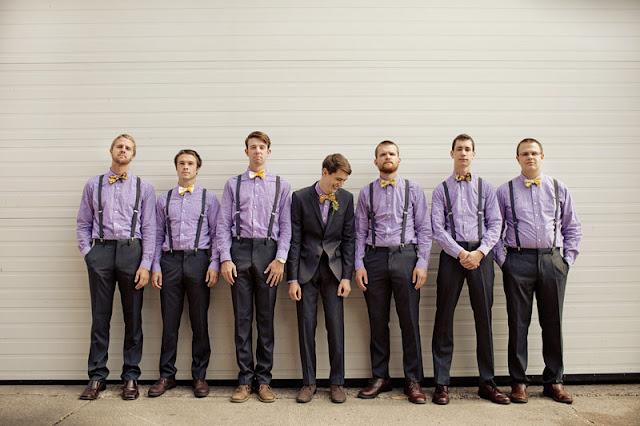 grooms in purple wedding
