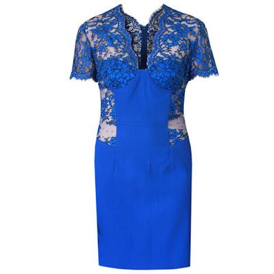 christopher kane blue lace panel dress