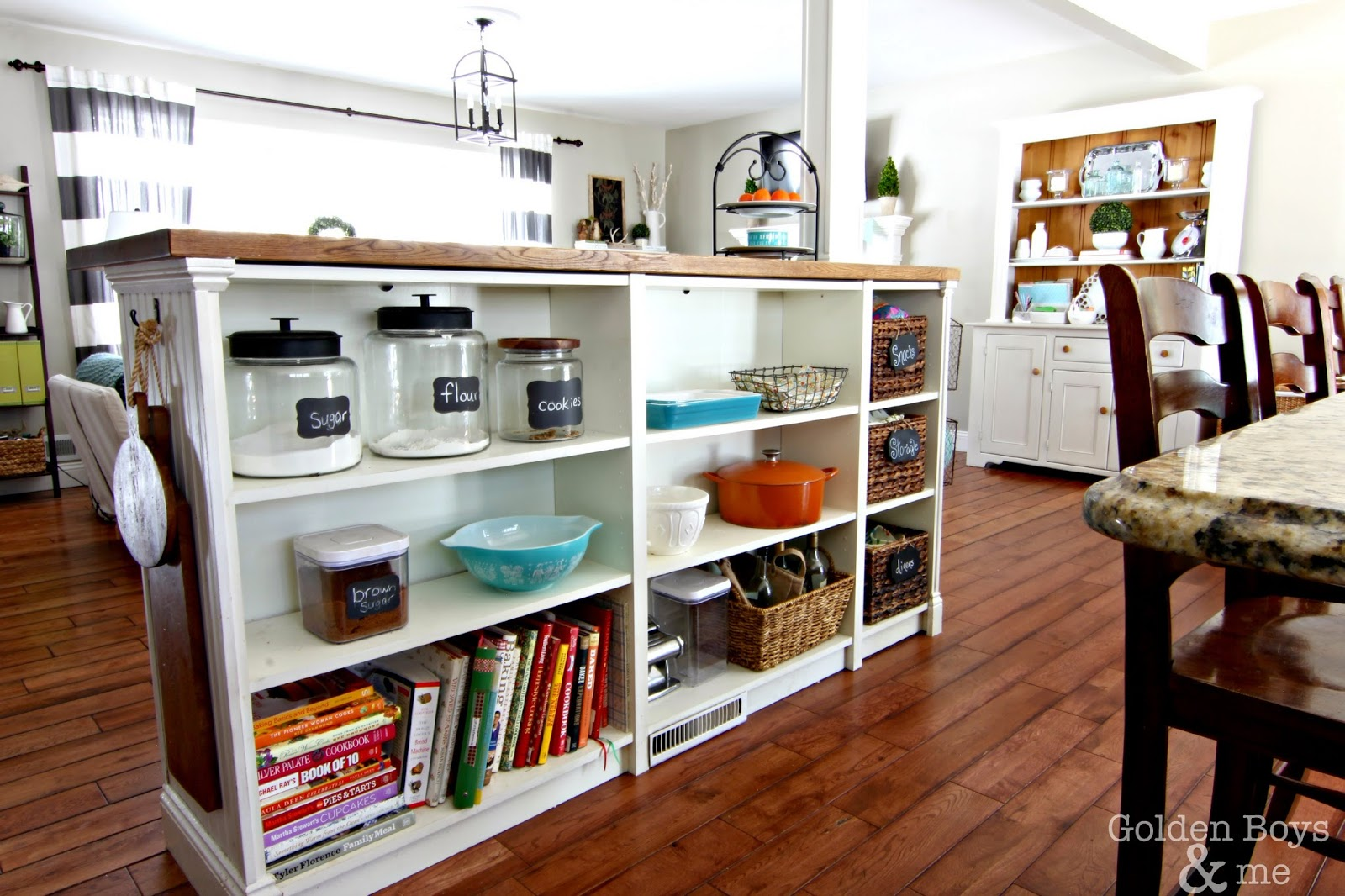 Billy bookshelf used for kitchen storage-www.goldenboysandme.com