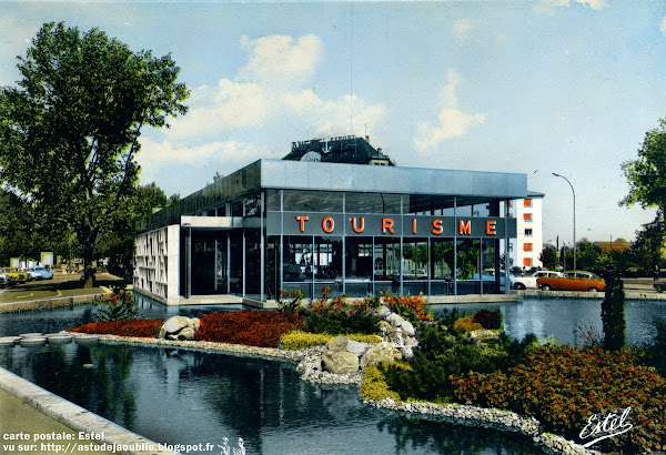 Strasbourg - Pavillon d'accueil touristique du Pont de l'Europe  Architecte: Pierre Vivien  Mur Sculpture: L'Oeuf Centre D'Etudes  Construction: 1962  Déstruction: 2009