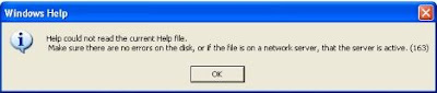 Error after opening HLP file