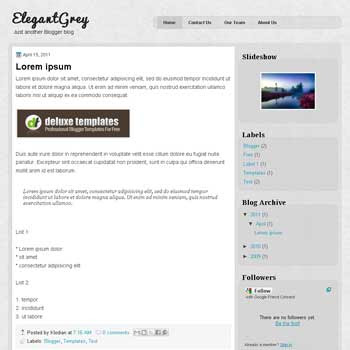 ElegantGrey blogger template with 3 column blogger template. 3 column blogspot template