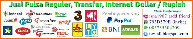 Jual (melayani pembelian) pulsa dollar murah dan pulsa rupiah via paypal neteller dan bank bni (karyafikri.blogspot.com)
