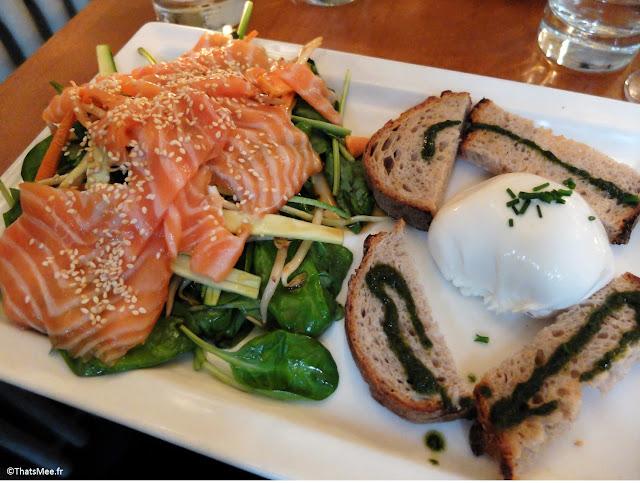salade thaï saumon mariné pousses d'épinards soja coriandre courgette burrata fondante, Resto avenue Trudaine Les Bonnes Soeurs Paris 9ème Pudhlo Routard