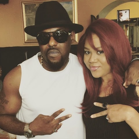 Stella Damasus hangsout with Jim Iyke in Atlanta.