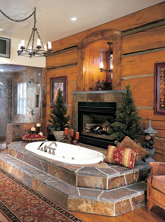 Creative Bathroom Fireplace Design Ideas with Architecture And